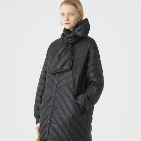 Marisfrolg玛丝菲尔白鹅绒2020年冬季新款黑色轻薄羽绒服外套女装