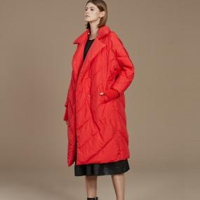 Marisfrolg/玛丝菲尔红色羽绒服中长款女2020新款白鹅绒外套时尚