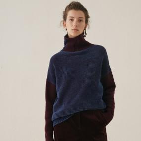 Marisfrolg玛丝菲尔羊毛2020年冬季新款女装高领拼色毛针织衫毛衣