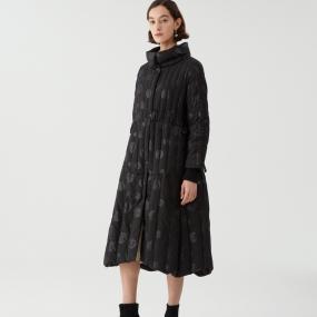 Marisfrolg/玛丝菲尔白鹅绒2020冬新款女装黑色中长款羽绒服