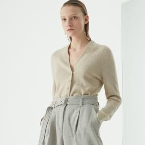 Marisfrolg/玛丝菲尔羊绒2020年冬季新款叠穿外穿针织衫毛衣开衫