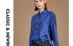 Marisfrolg/玛丝菲尔真丝蓝色衬衫女装2019秋季新款长袖气质上衣