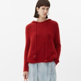 Marisfrolg玛丝菲尔羊毛2020年冬季新款女装套头连帽气质红色毛衣