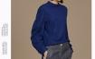 玛丝菲尔2019冬季新款蓝色羊毛卫衣女套头宽松时尚上衣