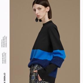 Marisfrolg/毛针织衫女冬季宽松套头毛衣拼色长袖时尚上衣