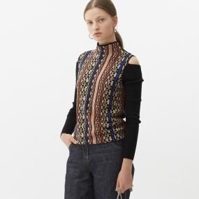 Marisfrolg玛丝菲尔纯羊毛2021年春季新款女装黑色套头修身针织衫