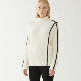 Marisfrolg/玛丝菲尔2020秋季新款套头毛衣女白色宽松时尚针织衫