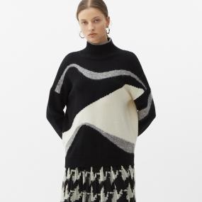 Marisfrolg玛丝菲尔羊毛2020年冬季新款女装黑白撞色圆领套头毛衣