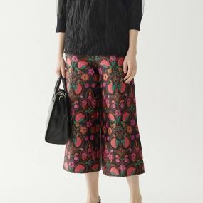 Marisfrolg玛丝菲尔2020年秋季新款宽松时尚碎花阔腿休闲裤七分裤