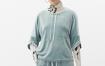 Marisfrolg/玛丝菲尔女装2021年春季新款圆领套头五分袖丝绒卫衣
