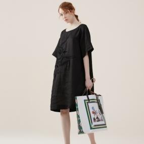 玛丝菲尔亚麻2020年夏季新款女装黑色时尚连衣裙裙子