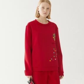 Marisfrolg玛丝菲尔2020秋季新款女装红色套头卫衣女时尚圆领上衣