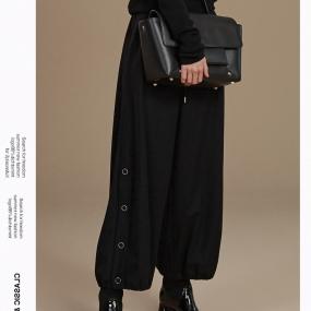 玛丝菲尔羊毛黑色休闲裤女装2019冬季新款灯笼裤长裤子
