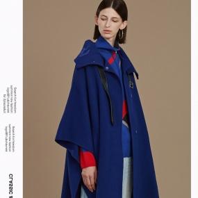 Marisfrolg/玛丝菲尔蓝色毛呢外套女2019冬季新款中长款羊毛大衣