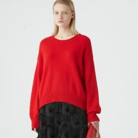 Marisfrolg玛丝菲尔羊毛2020年冬季新款女装圆领套头宽松红色毛衣