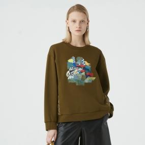 Marisfrolg玛丝菲尔2020年冬季新款拼接宽松圆领时尚气质卫衣上衣