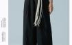 Marisfrolg玛丝菲尔黑色阔腿裤女装2020夏季新款宽松休闲裤九分裤