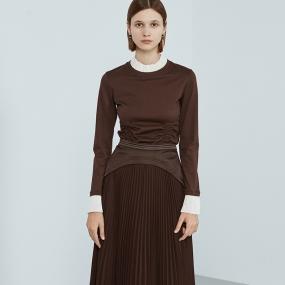 Marisfrolg/玛丝菲尔女装2020年冬季新款打底圆领长袖上衣纯棉T恤