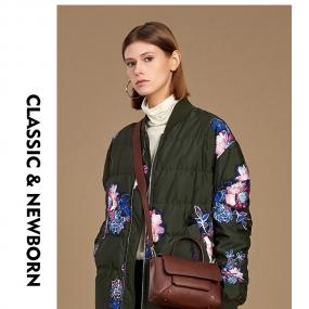 玛丝菲尔羽绒服女秋冬季新款女装时尚印花轻薄短款轻薄外套
