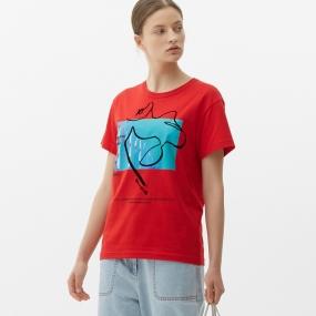 Marisfrolg/玛丝菲尔女装2021年春季新款红色圆领短袖纯棉上衣T恤