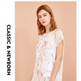 Marisfrolg玛丝菲尔2019夏季新款印花T恤宽松短袖桑蚕丝圆领上衣