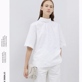Marisfrolg玛丝菲尔纯棉白色衬衫女装2020春季新款半高领时尚上衣