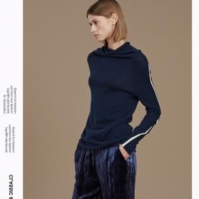 玛丝菲尔半高领山羊绒毛衣女2019冬季新款拼色针织衫