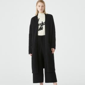 Marisfrolg玛丝菲尔羊绒2020年冬季新款中长款黑毛针织开衫毛衣