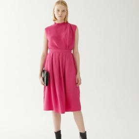 Marisfrolg玛丝菲尔桑蚕丝混纺2020年夏季新款女装红色半身裙裙子