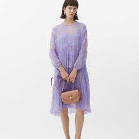 玛丝菲尔桑蚕丝2021年春季新款宽松长袖中长款100%重磅真丝连衣裙