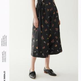 玛丝菲尔休闲裤女装2020春季新款阔腿裤碎花时尚七分裤