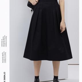 Marisfrolg/玛丝菲尔黑色半身裙女装2020春季新款中长款纯棉裙子