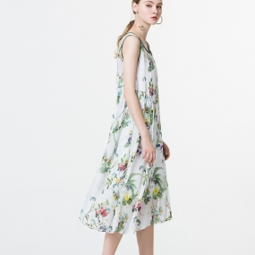 玛丝菲尔女装时尚无袖印花真丝连衣裙夏季新款专柜同款桑蚕丝裙子