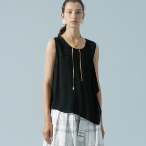 Marisfrolg/玛丝菲尔真丝2020年夏季新款女装黑色桑蚕丝吊带背心