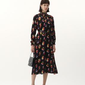 玛丝菲尔桑蚕丝裙子2021年春季新款重磅真丝长袖中长款印花连衣裙