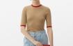 Marisfrolg玛丝菲尔纯羊毛2021年春季新款女装修身短袖针织衫上衣