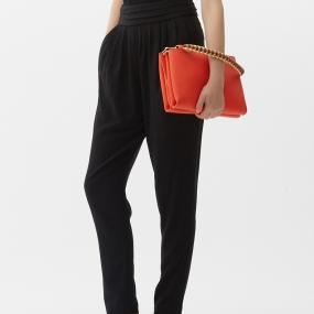 Marisfrolg/玛丝菲尔女装2021年春季新款垂坠感裤子黑色休闲长裤