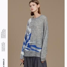 玛丝菲尔马海毛针织衫女装2019冬季新款套头拼色毛衣