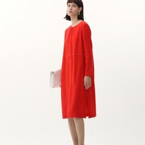Marisfrolg/玛丝菲尔纯羊毛2020年冬季新款红色长袖中长款连衣裙