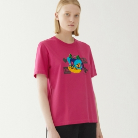 Marisfrolg/玛丝菲尔2020年夏季新款女装宽松时尚气质红色T恤上衣
