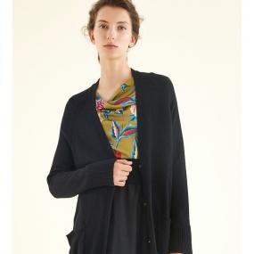玛丝菲尔女装冬新款中长款时尚针织开衫外套