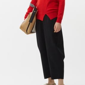 Marisfrolg玛丝菲尔纯羊毛2021年春季新款女装黑色裤子阔腿休闲裤