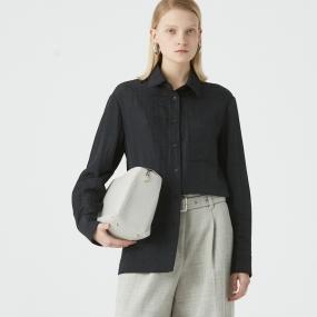 Marisfrolg/玛丝菲尔2020年秋季新款黑色长袖时尚薄职业衬衫上衣