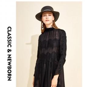 玛丝菲尔女装春装2019新款黑色宴会礼服气质真丝连衣裙中长款裙子