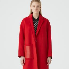 Marisfrolg玛丝菲尔羊毛秋冬新中长款红色呢子大衣毛呢外套