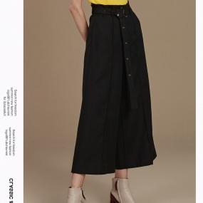 玛丝菲尔纯羊毛黑色休闲裤女装2019冬季新款宽松九分裤