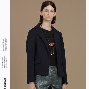Marisfrolg/玛丝菲尔短款毛呢外套2019冬季新款女装蓝色呢子外套