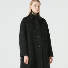 Marisfrolg/玛丝菲尔羊毛2020年冬季新款女装黑色中长款毛呢外套