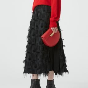 Marisfrolg/玛丝菲尔女装2020年冬季新款A字裙黑色中长款半身裙