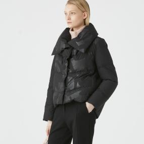 Marisfrolg玛丝菲尔白鹅绒2020年冬季新款黑色短款印花羽绒服外套